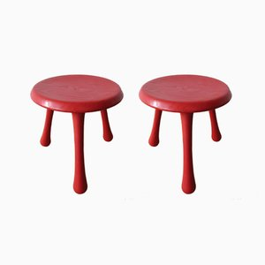 Scandinavian Modern 3-Legged Pine Stools by Ingvar Kamprad for Habitat, 2000s, Set of 2
