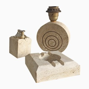 Vintage Travertine Set with Ashtray, Lamp and Lighter from Fratelli Mannelli