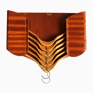 Teak Hanger Holder with 6 Hangers from YCKI, 1950s