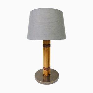 Lámpara de mesa escandinava moderna de latón, bambú y lino de Bergboms, años 60