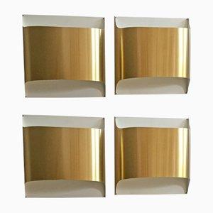 Applique in metallo di Dieter Witte per Staff, Germania, anni '70, set di 4