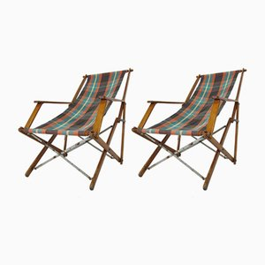 Vintage Beech Folding Camping Chairs, 1930s, Set of 2