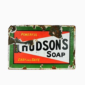 Vintage Industrial Enamel Hudson's Soap Sign, 1930s