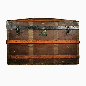 Antique Industrial Banded Oak Trunk