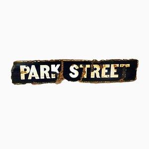 Señal de calle industrial vintage esmaltada, años 30