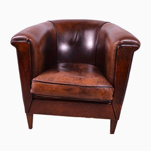 Vintage French Sheepskin Art Deco Style Club Chair