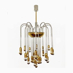 Hollywood Regency German Brass and Chrome Plating Chandelier, 1970s