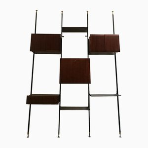 Italian Brass, Palisander, and Steel Wall Unit by Luciano Frigerio for Frigerio Desio, 1960s