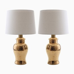 Scandinavian Modern Gold-Plated Ceramic Table Lamps by Bitossi for Luxus, 1960s, Set of 2