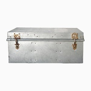Industrial German Metal and Galvanized Metal Trunk, 1940s