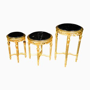 French Gold Leaf Shaped Marble Coffee Tables, 1950s, Set of 3