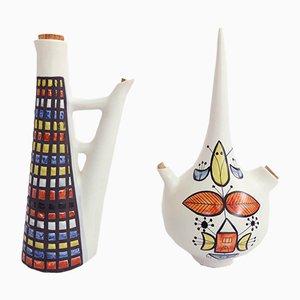 Vintage Flagon Vasen von Roger Capron für Vallauris, 2er Set