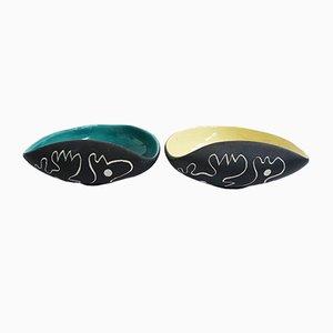 Cuencos italianos de cerámica de Ceramiche Campionesi, años 50. Juego de 2