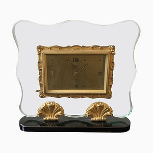 Italian Brass and Glass Clock from Fontana Arte, 1950s