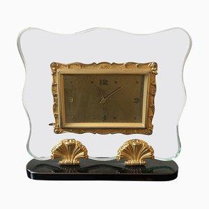 Italienische Uhr aus Messing und Glas von Fontana Arte, 1950er