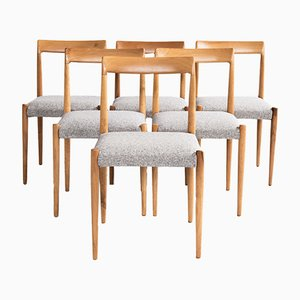 German Cherry and Wood Dining Chairs from Lübke, 1960s, Set of 6