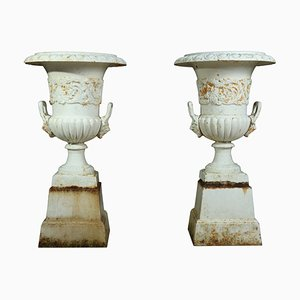 Mid-Century Cast Iron Urns, 1960s, Set of 2