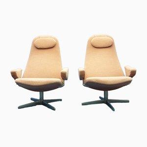 Skandinavische moderne Armlehnstühle mit Armlehnen aus verchromten Armlehnen von Alf Svensson für Dux, 1960er, 2er Set