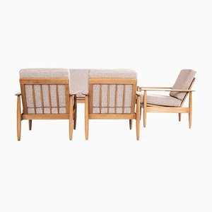 Danish Beech and Fabric Living Room Set, 1960s