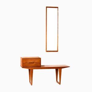 Conjunto de recibidor danés de teca con mesa, cajones y espejo de Kai Kristiansen para Aksel Kjersgaard, años 60