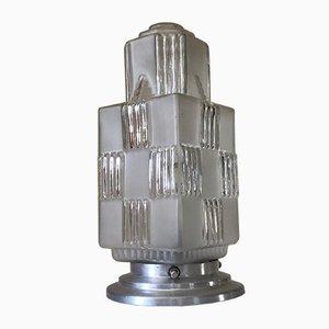 Lámpara de mesa francesa de aluminio y vidrio envejecido, años 40