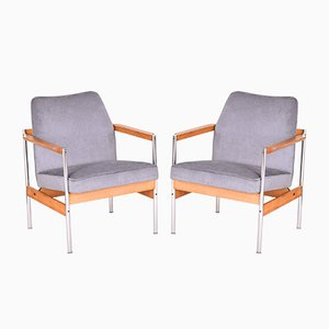 Scandinavian Beech and Chrome Plated Armchairs, 1970s, Set of 2
