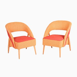 Mid-Century Czech Oak Armchairs, 1940s, Set of 2