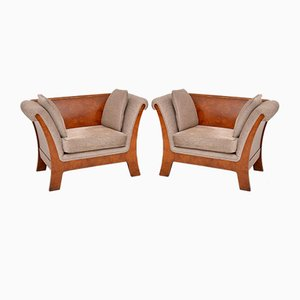 Antique Style Swedish Burr Walnut Armchairs, 1930s, Set of 2