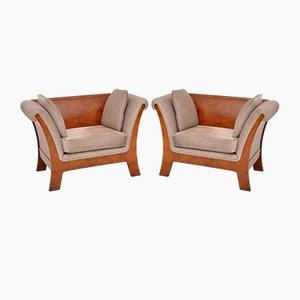 Schwedische Armlehnstühle aus Nussholz mit Gestell aus antikem Stil, 1930er, 2er Set