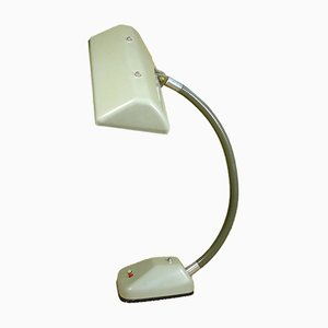 Large Industrial German Metal and Plastic Table Lamp with Gooseneck from HELO Leuchten, 1960s