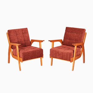 Mid-Century Oak Armchairs, 1950s, Set of 2