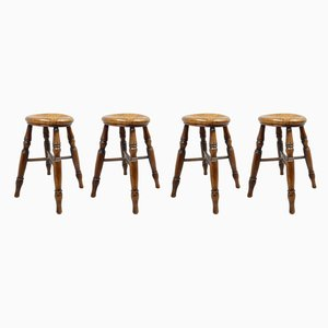Antique Beech and Elm Tavern Stools, Set of 4