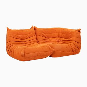 Togo Orange Modular Sofa by Michel Ducaroy for Ligne Roset, 1970s, Set of 2