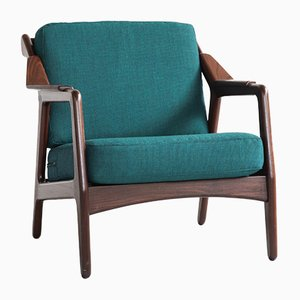 Danish Fabric, Teak, and Wool Armchair by Brockmann Petersen for Randers Møbelfabrik, 1960s