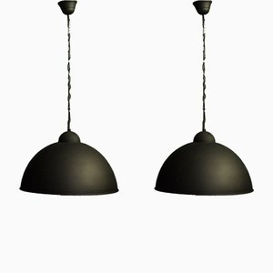 Industrielle Deckenlampen aus schwarzem Metall, 1960er, 2er Set