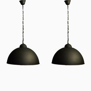 Lampade da soffitto industriali in metallo nero, anni '60, set di 2