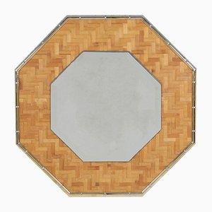 Espejo vintage octogonal de latón y bambú, años 70