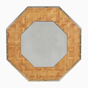 Vintage Brass and Bamboo Octagonal Mirror, 1970s