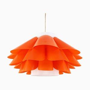Domus Orange & White Plastic Pendant from Hoyrup Lighting, 1970s