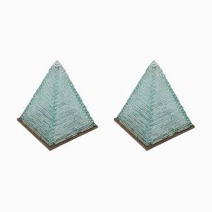 Lampade a forma di piramide in vetro di Pia Manu, anni '70, set di 2