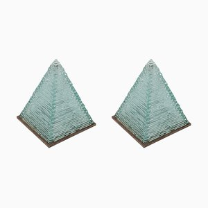 Pyramid Glass Lamps by Pia Manu, 1970s, Set of 2