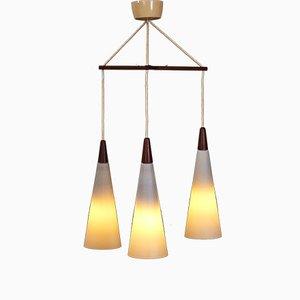 Dänische Mid-Century Deckenlampe aus Teak & Opalglas, 1960er