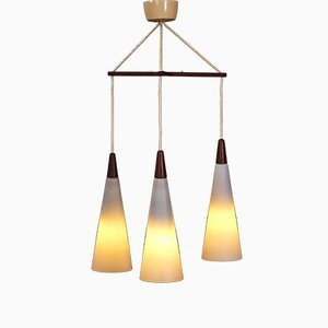 Mid-Century Danish Teak & Opaline Glass Triple Ceiling Lamp, 1960s