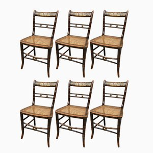 Antique Beech Painted Side Chairs, Set of 6