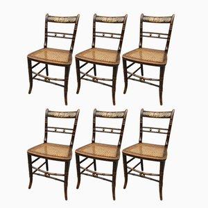 Chaises d'Appoint Antique en Hêtre Peint, Set de 6