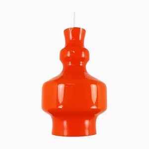 Orangefarbene Modell B-1202 Hängelampe aus Opalglas von Raak, 1968