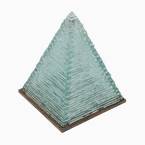 Lámpara de mesa de vidrio y acero de Pia Toscano, años 70