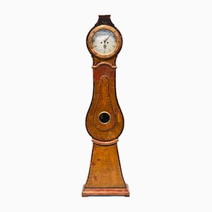 Antique Swedish Pine Mora Clock from Jacob Öberg