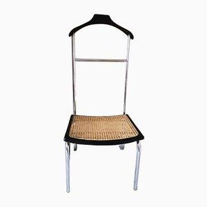 Italienische Stummer Diener Stuhl aus Buche, Schilfrohr & Chrom, 1970er