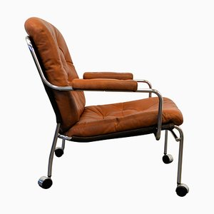 Leather Lounge Chair on Wheels, 1960s